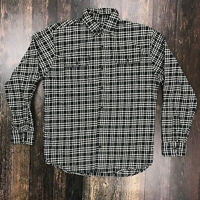 (JACHS Plaid Flannel Shirt Medium Button Front LS Heavy Cotton Black White Check)