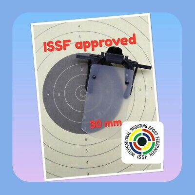 ISSF approved white translucent clip-on eyeshield 30mm. Worldwide tracking (Mail Tracking Worldwide)
