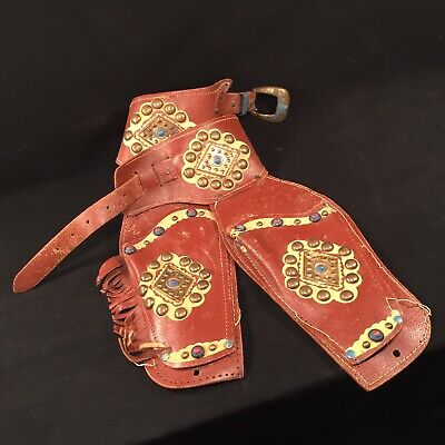Vintage Toy Cap Gun Holster Double Leather Western Cowboy PRIORITY MAIL