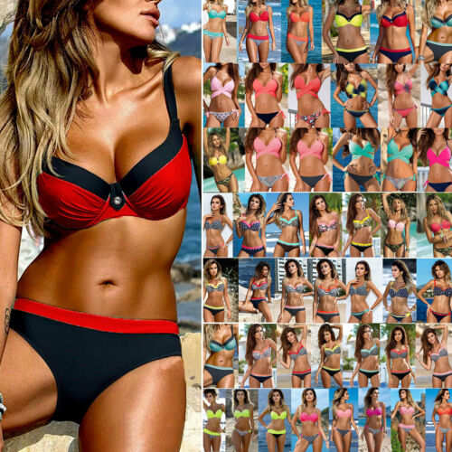 Damen Gepolstert Bikini Set Push Up BH Bademode Badeanzug Träger Schwimmanzug 42
