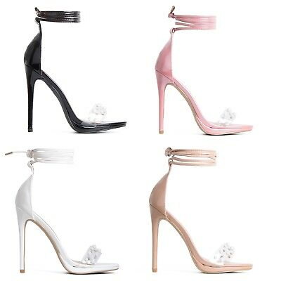 Womens Ladies Pearl Clear Front Lace Up High Heel Stiletto Ankle Tie Shoes Size Stiletto Heel Ankle Tie