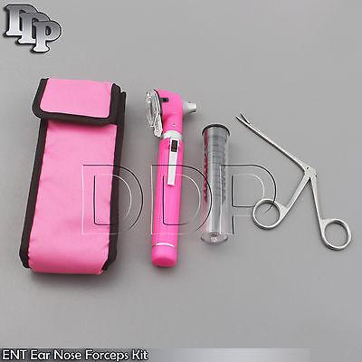 Pink Mini Fiber Optic Otoscope Led Diagnosticalligator Ent Ear Nose Forceps Kit