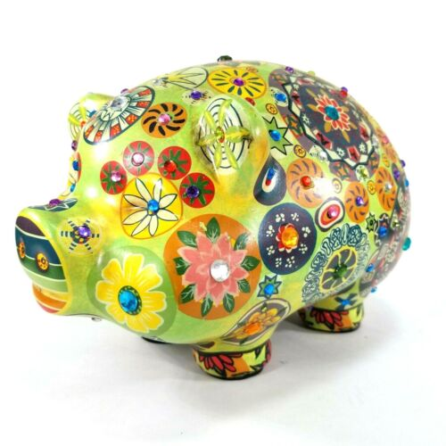 """Large Ceramic Hand Painted Floral Beaded Pig Piggy Bank Coin Bank Green,10x8x8"""""""