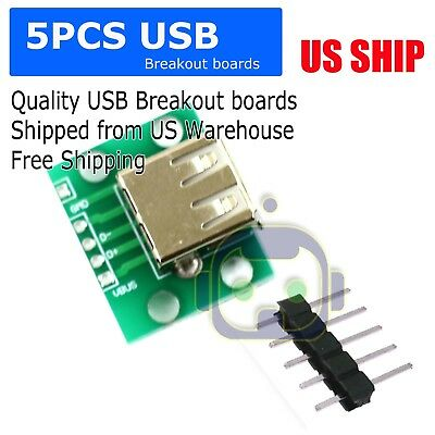 5pcs Usb Female Port Connector Breakout Board Power 2.54mm Header For Arduino