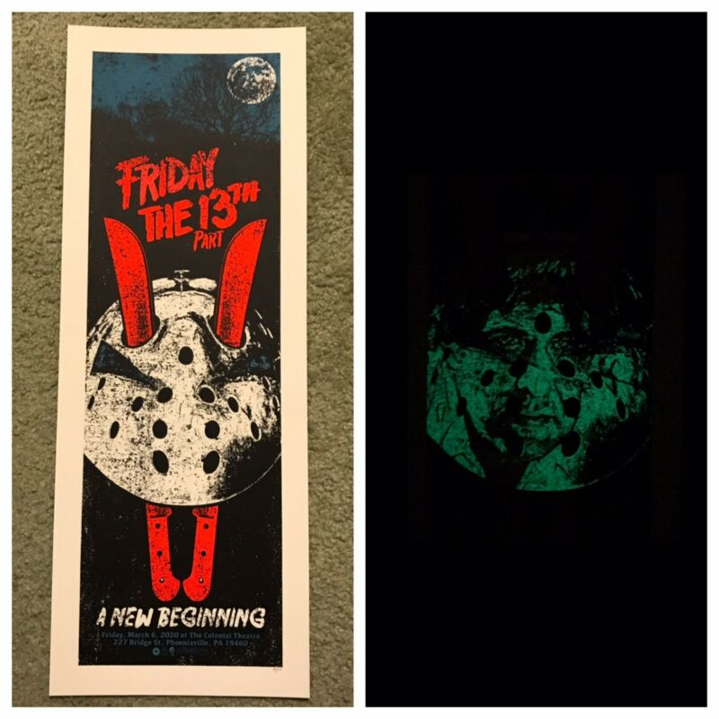 Friday The 13th A New Beginning Horror Movie Print Poster Mondo Qfschris Glows!!