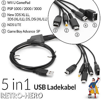 5 in 1 Ladekabel gameboy, Wii, Psp, NDS, DS,Lite, GBA, Advance SP, USB Strom DSI