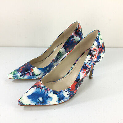 Marc Fisher 6 Patent Leather Floral heels Pumps Pointed Toe Career Cocktail blue