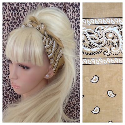 BEIGE TAN PAISLEY COTTON BANDANA HEAD HAIR NECK SCARF RETRO ROCKABILLY PIN UP