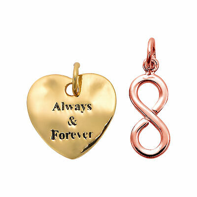 'Always & Forever' Infinite Love Duo Two Tone Over Sterling Silver Charm Pendant