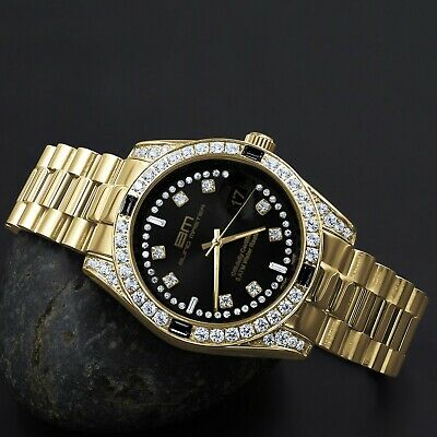 Solid Steel 18K Gold Tone Black Dial Simulated Diamond Mens President Watch 40mm