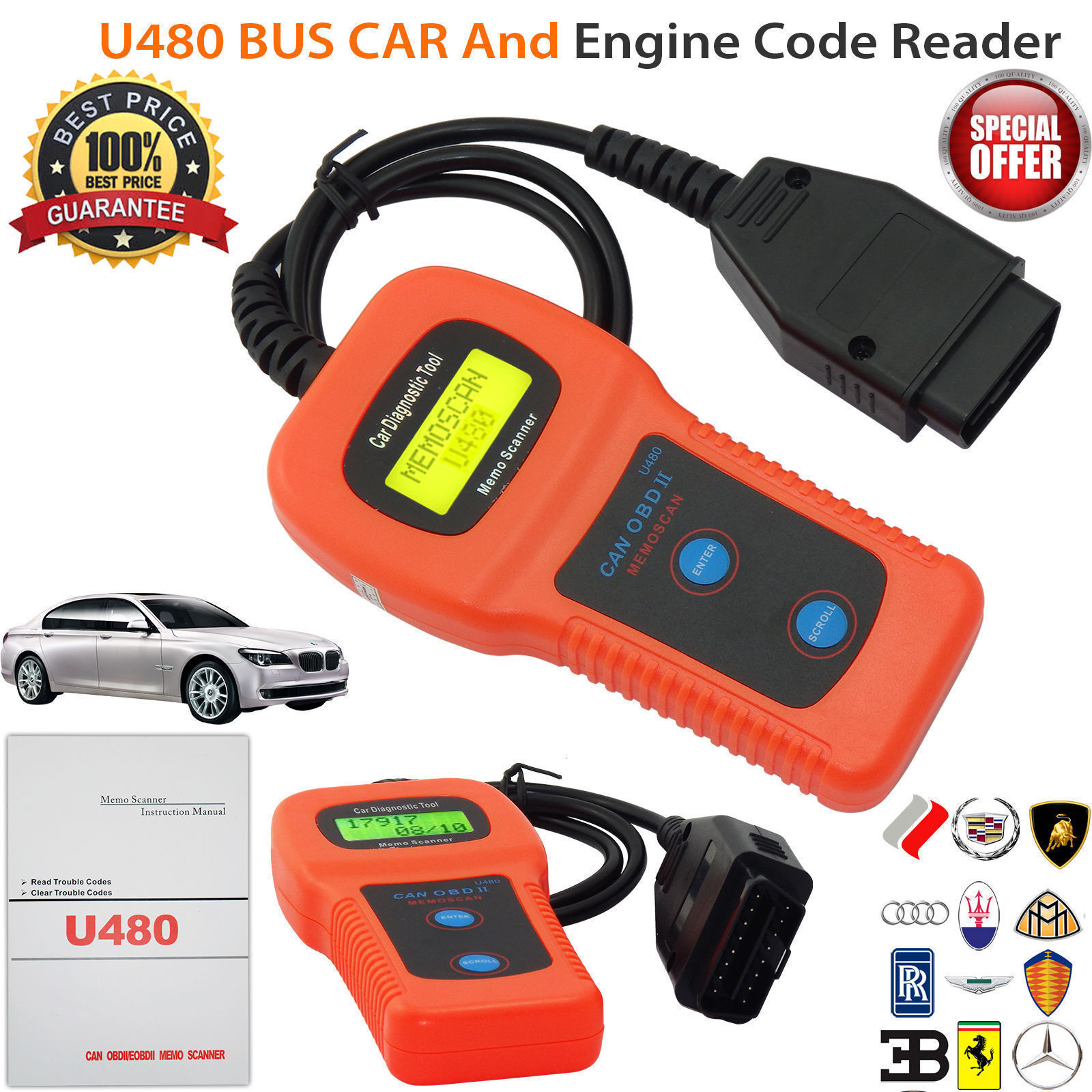 Car Diagnostic Scanner Tool U480 CAN OBDII OBD2 Memo Engine Fault Code Reader Consumer Electronics