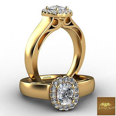 U Cut Pave Set Solitaire Halo Cushion Diamond Engagement Ring GIA F VS1 0.7 Ct