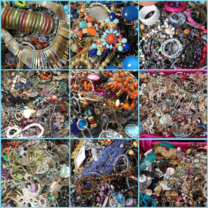 Jewelry Lot: Necklaces, Earrings, Bracelets, 6 lbs Plus, Wearable, Grab Bag