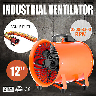 12 Extractor Fan Blower Ventilator 5m Duct Hose Chemical Basement High Rotation