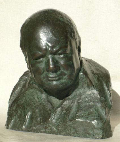 Winston Churchill signed Nemon Wartime Leader Bronze Resin Bust