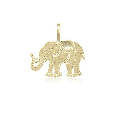 14K Solid Yellow Gold Elephant Pendant -Good Luck Lucky Necklace Charm Women Men ()
