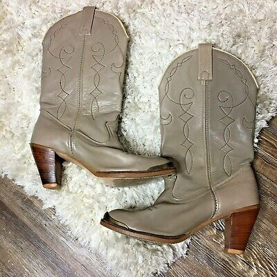 Acme Women's High Heeled Cowboy Boots Rodeo Western Cowgirl Tan Ladies Boots 7.5