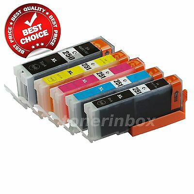 5 Pk PGI-250 XL CLI-251 XL Ink Cartridges for Canon PIXMA MG5422 MG5522 IP7220