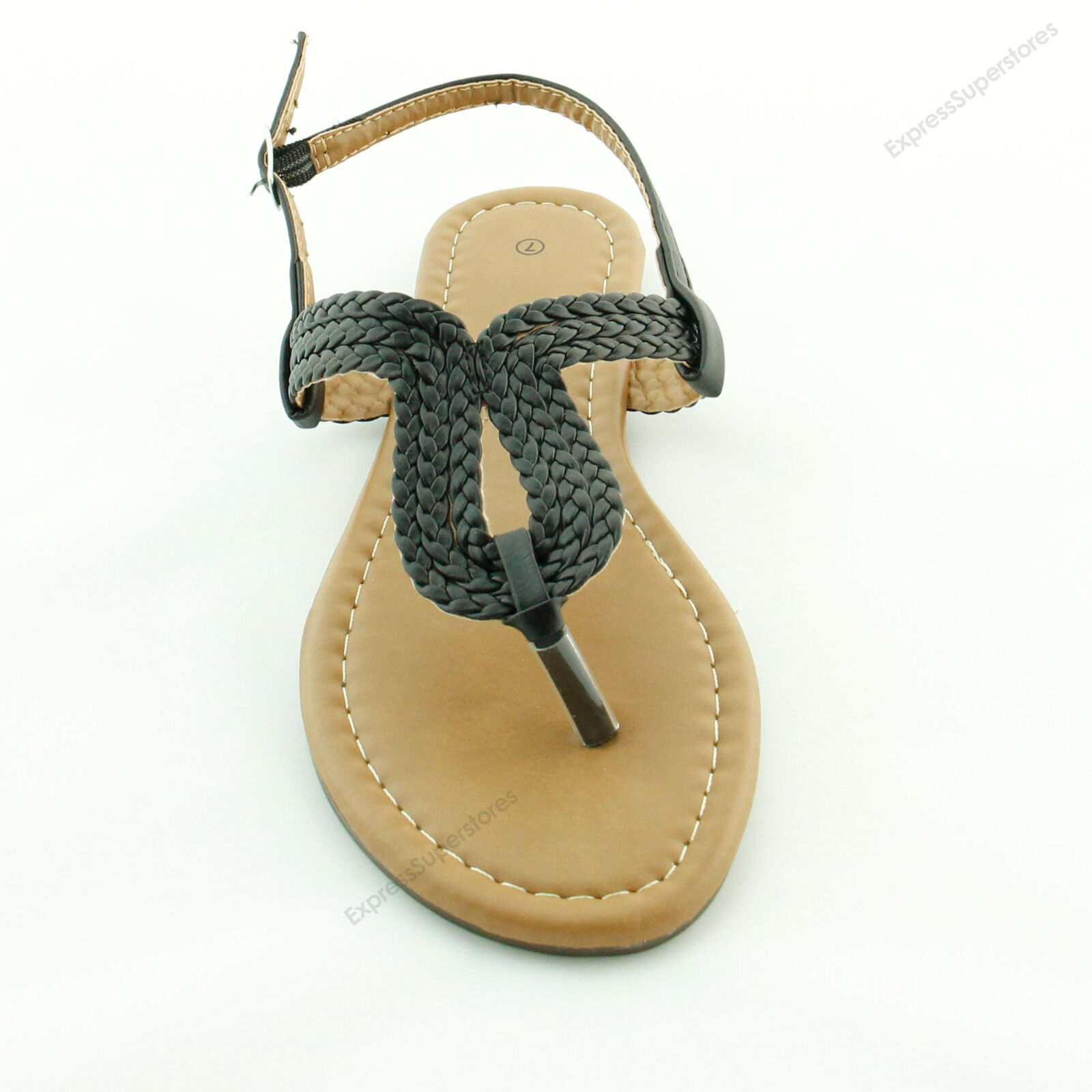 New Womens Braided Gladiator Flat Sandal T-strap Thong Flip Flops Style all size
