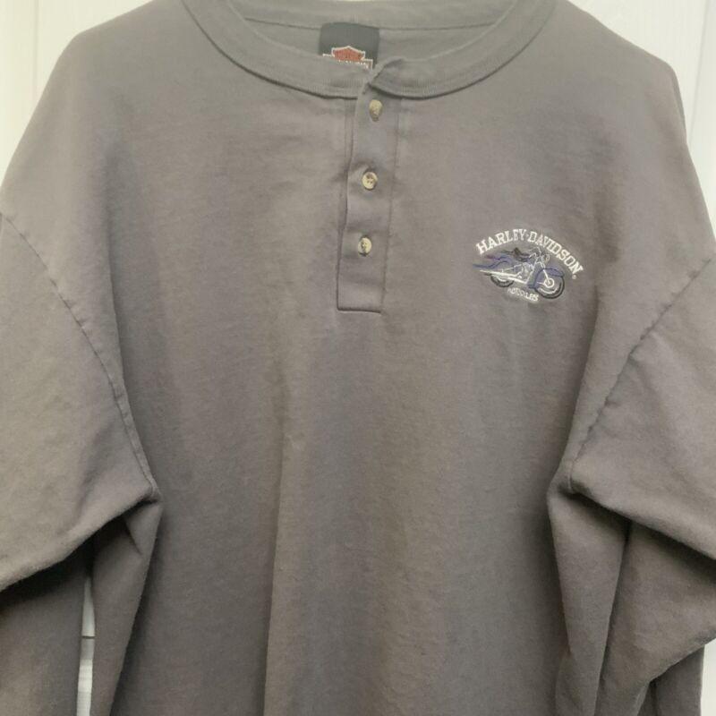 Genuine Harley-Davidson Gray Henley L S Shirt -Man's Size XL-100% Cotton