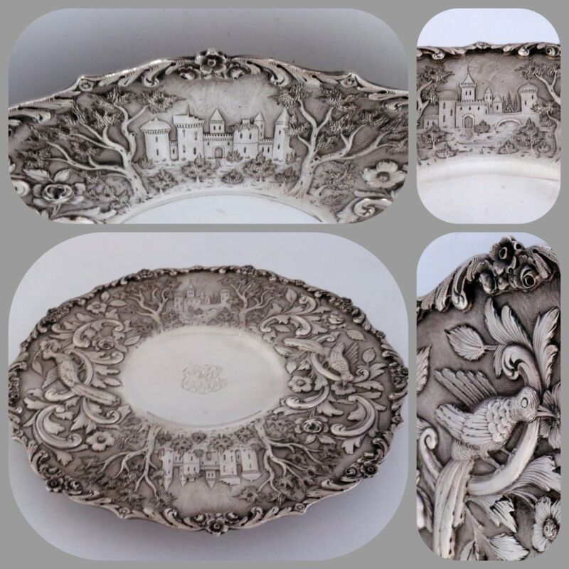 The Loring Andrews Castle Sterling Silver Footed Tray