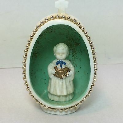 VINTAGE BONE CHINA EGG SHAPED DIORAMA CHOIR BOY CHRISTMAS ORNAMENT JAPAN