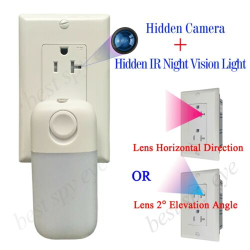 Hidden Spy Night Vision Camera in Wall Socket + Hidden 940nm LED Infrared Light