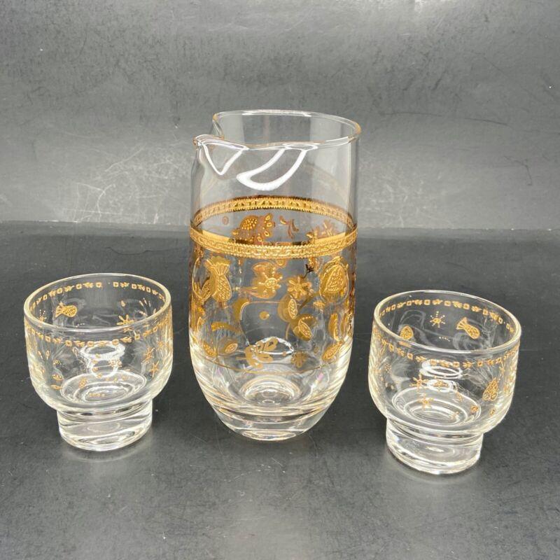Vintage Culver LTD 22KT Gold Cocktail Pitcher/Carafe & 2 Glasses Chantilly MCM
