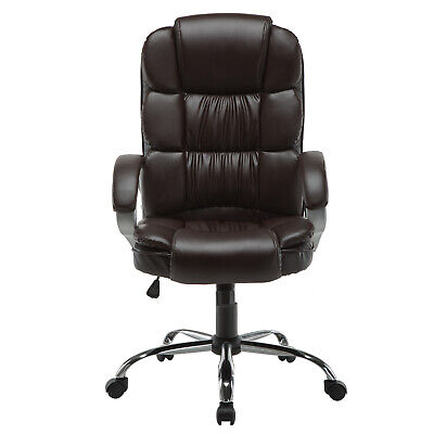 Modern Pu Leather Office Chair Executive Task Ergonomic Computer Desk Brown