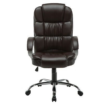 Pu Leather Boss Style Office Chair Executive Task Ergonomic Computer Desk Brown