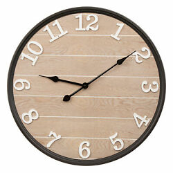 Glitzhome Rustic Large Wall Clock Wooden Big Number Home Office Room Watch Decor