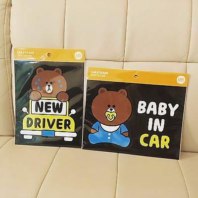 Korea Naver Line Friends Cute Brown New Driver Baby In Car Stickers Mascot Gift