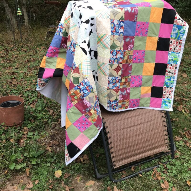 PATCHWORK HANDMADE QUILT 60 X 88, COLORFUL HAND TIED, LIGHT WEAR