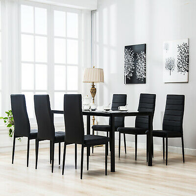 7 Piece Kitchen Dining Set Wood Top Table 6 Leather Chairs Breakfast
