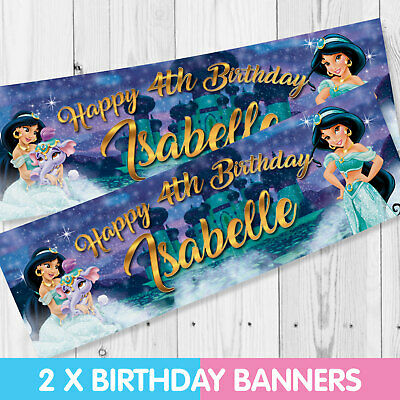 Personalised Disney Princess Jasmine Birthday Banner - Children Party Banner x 2