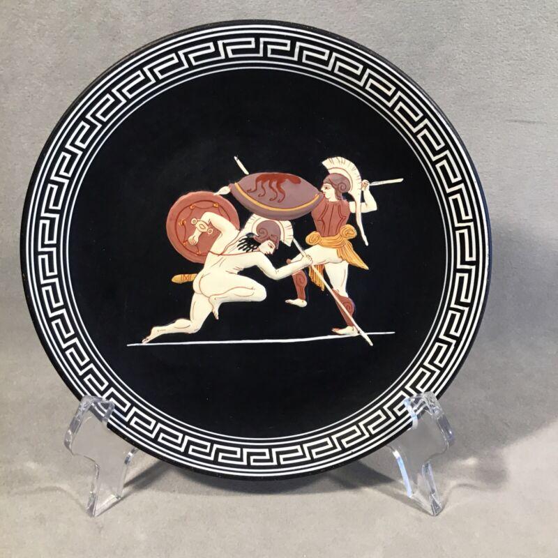 """PV05777 Vintage Gay Interest Greece Black 6"""" Souvenir Plate PARIS & ACHILLES"""
