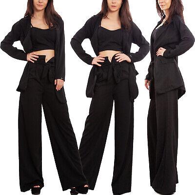 Elegante Drei Stück Anzug (Komplett Drei Stück Damen Elegant Hosenanzug Jacke Hose Sexy Toocool WD-3523)