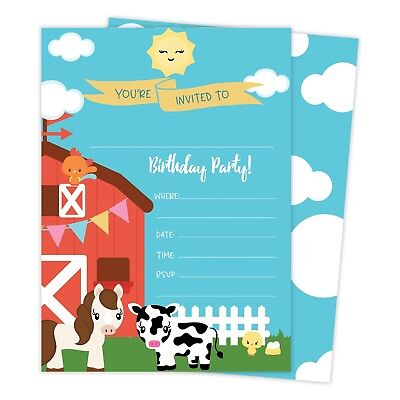 Farm Barnyard Happy Birthday Invitations Invite 25ct w/ Envelopes + Seal Party (Barnyard Birthday Invitations)