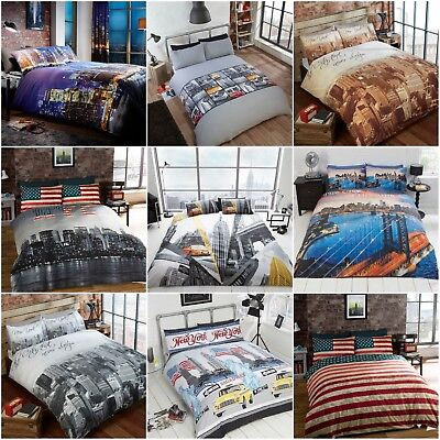 New York City Skyline American Flag Theme Bedding Linen Duvet Quilt Cover Set