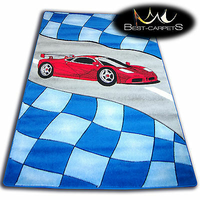 THICK MODERN RUGS 'HAPPY' CARPETS FOR KIDS RACE CAR BLUE CHILDREN CHEAP