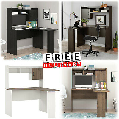 Corner Desk L Shaped With Hutch Computer Home Office Workstation Wooden Desk New