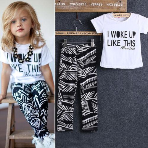Toddler Kids Girls Short Sleeve T-shirt Tops+Pants Outfits C
