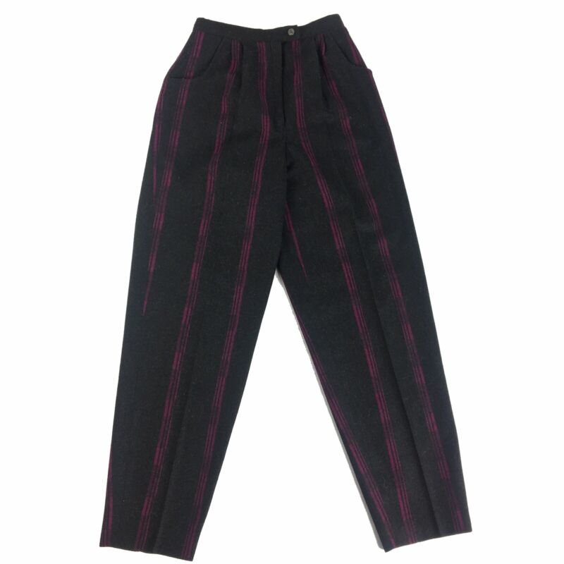 Vintage John Mever 70s 80s Pleated Wool Trousers Size 6 Striped High Waist Pants