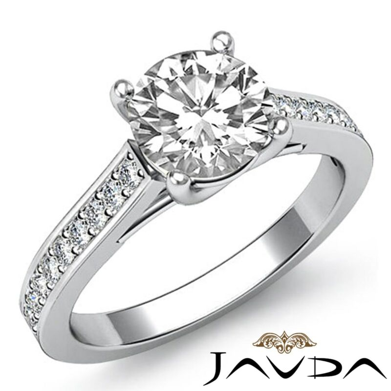 Round Diamond Solitaire Style Engagement Ring Gia F Vs2 14k White Gold 1.8ct