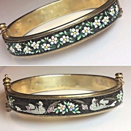 Pristine! 1860 Antique Victorian Micro Mosaic White Doves Daisy Flower Bracelet