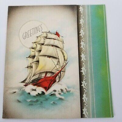Vintage Christmas Card Clipper Sailboat Ocean Sea Greetings Die Cut Holly