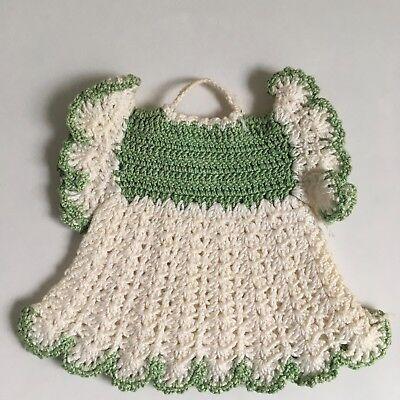 Vintage Crochet Off-White & Green Dress Pot Holder