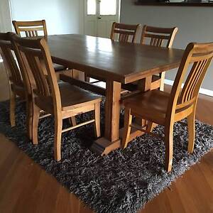 Pine dining table + 6 chairs Hornsby Hornsby Area Preview