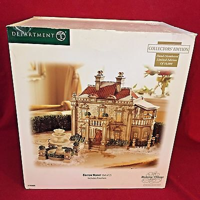 Barrow Manor Dept 56 Dickens Village 799909 Christmas Retired house fountain