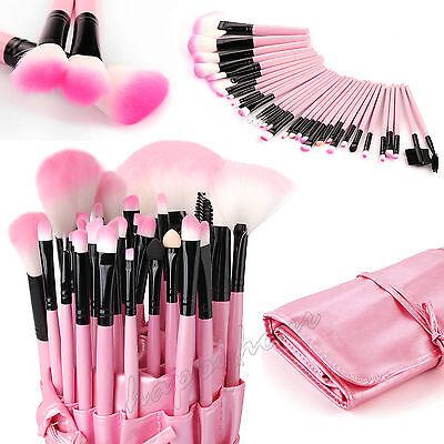 Professional 32 Pcs Kabuki Make Up Brush Set and Cosmetic Brushes Case Pink